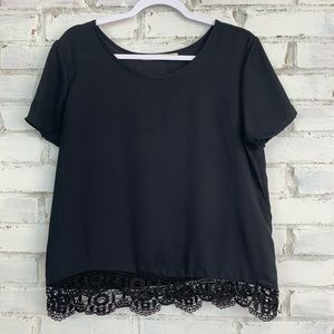Liberty Love | Crochet Hem Black Blouse | Size L